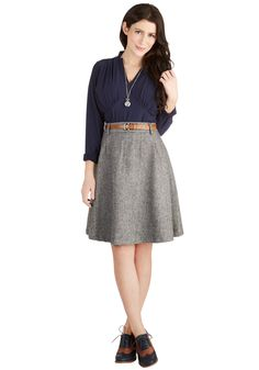 Vice Versatility Skirt. Wear this tweed A-line skirt with boots and a floral blouse, opaque tights and a striped pullover, or any other of a myriad of ensembles for style you can rely on! #grey #modcloth