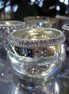 Rhinestone Trim Silver Mercury  Glass Votive Holders $4.99 each/ 6 for $4 each