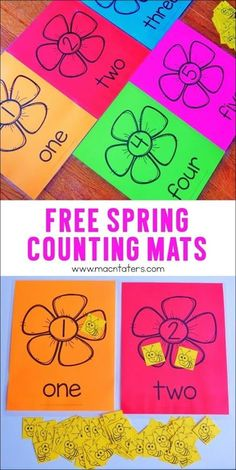 These Free Spring Counting Mats that are great for practicing counting, one-to one correspondence and more. This activity is great for toddlers, preschoolers, and kindergarteners.