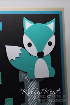 Fox Punch Art using Stampin' Up! punches. Kelly Kent - mypapercraftjourney.com.