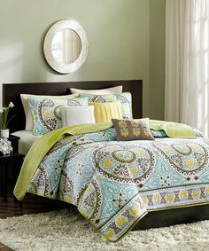 Love this! Update on the gray & yellow theme from last year - Maya Quilted Coverlet Set by JLA Home