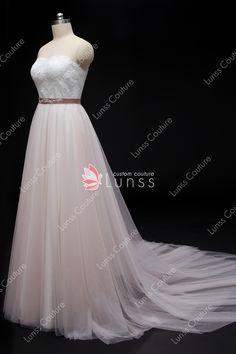 1a0cdecf18 Light Ivory and Dusty Pink Two-tone Sweetheart Lace Tulle Chapel Train  A-line Weeding Dress