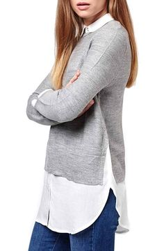 Topshop Hybrid Dual Layer Shirt available at #Nordstrom