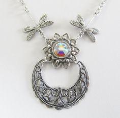 Moon and Dragonfly Necklace Swarovski Crystal  by JasGlassArt