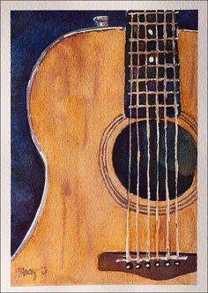 guitar watercolor painting - Google Search