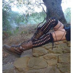 Moon's Eye Corset Stockings. Thigh Highs. Socks. Knee Socks. Leg... (£86) ❤ liked on Polyvore featuring intimates, hosiery, thigh high leg warmers, thigh high hosiery and crochet leg warmers