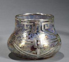 ❤ - Loetz | Overlay Vase Silver, Iridescent Glass.