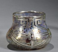 Loetz | Overlay Vase Silver, Iridescent Glass.