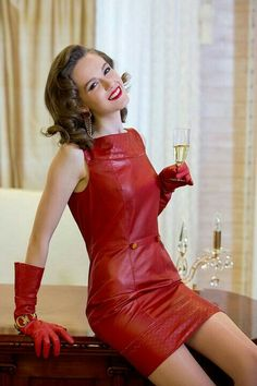Red leather minidress and gloves