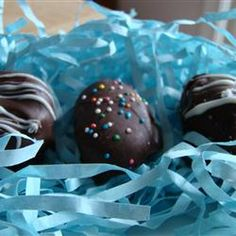 """5-Star Easter Eggs (""""If you want to wow your family with extra special Easter eggs, this is the recipe for you! These are peanut butter and coconut cream eggs dipped in chocolate. They are both delicious and beautiful!"""")"""
