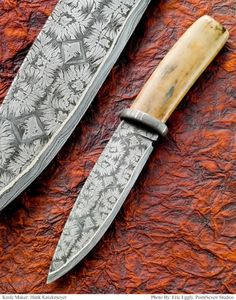 Shit hot ivory handle damascus knife by Hank Knickmeyer - gorgeous!!!  ....by Point Seven Photos (Eric Eggly)