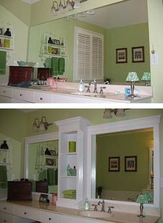 27 Easy Remodeling Projects Add molding (and shelves?) to an otherwise boring bathroom mirror. {Good idea for MB} -- 27 Easy Remodeling Projects That Will Completely Transform Your Home Large Bathroom Mirrors, Large Bathrooms, Framed Mirrors, Master Bathroom, Modern Bathroom, Bathroom Mirror Shelves, Glass Bathroom, Beautiful Bathrooms, Large Mirrors