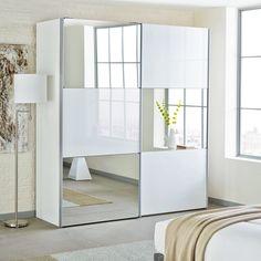 Loft two door sliding wardrobe white glass with mirror