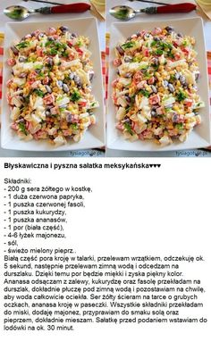 ♥♥♥ Błyskawiczna i pyszna sałatka meksykańska ♥♥♥ Błyskawiczna i pyszna sałatka meksykańska ♥♥♥ Salate Warm, Vegetarian Recipes, Healthy Recipes, Polish Recipes, Side Salad, Party Snacks, Salad Recipes, Salads, Food And Drink