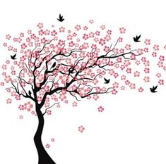 Cherry blossom tree tattoo wall decals ideas for 2019 Cherry Blossom Drawing, Red Cherry Blossom, Cherry Tree, Blossom Tree Tattoo, Blossom Trees, White Blossom Tree, Tree Wall Painting, White Bird Tattoos, Tree Wallpaper