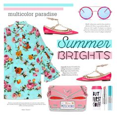 """""""Summer brights!"""" by riennise ❤ liked on Polyvore featuring Gucci, Valentino, Moschino, Wildfox, ban.do, Estée Lauder and summerbrights"""