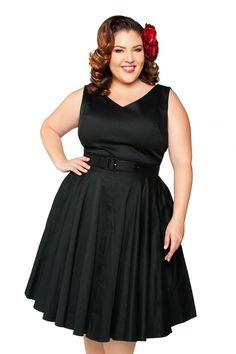 Havana Nights Dress in Black Sateen - Plus size