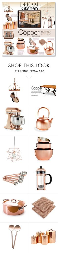 """""""Copper Kitchen"""" by fassionista ❤ liked on Polyvore featuring interior, interiors, interior design, home, home decor, interior decorating, Frontgate, Crate and Barrel, Martha Stewart and Thirstystone"""