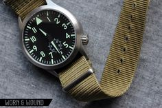 Maratac mid-size pilot. Nice automatic watch for under $200. Think I'll put this on a 20mm orange nato strap. via Worn