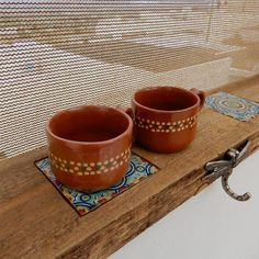 """Set of 2 Decorative Mexican Clay """" Jarritos de Barro"""" Tonala Art #Mexico #TonalaArt"""