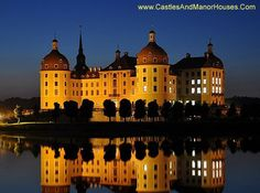 Schloss Moritzburg (Castle Moritzburg), Schloßallee, 01468 Moritzburg, Saxony, Germany.....   http://www.castlesandmanorhouses.com/photos.htm   ...    Moritzburg Castle is a Baroque palace in Moritzburg, in the German state of Saxony, about 13 kilometres (8.1 MI) Northwest of Dresden. The castle is named after Duke Moritz of Saxony, who had a hunting lodge built here between 1542 and 1546.