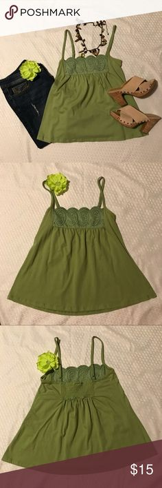 GAP Green Cotton Top w/Detail-Size S GAP Green Cotton Top w/Detail-Size S  Gathering in back for perfect fit.  Great condition!!  Super cure for spring/summer!  Step out in style. GAP Tops Tank Tops