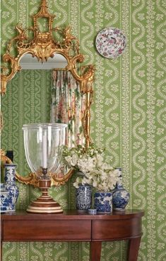 Style Profile: Amy Berry - The Glam Pad Green Wallpaper, Print Wallpaper, Fabric Wallpaper, Pattern Wallpaper, Classic Wallpaper, Luxury Nursery, Oak Lawn, World Of Interiors, Luxury Home Decor