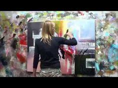 """Démonstration de peinture abstraite (4) Elisabeth - Toile """"Réflexion"""" - YouTube"""