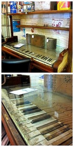 An old piano repurposed into a desk