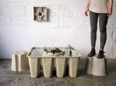 Paper pulp furniture is stronger than it looks. Bamboo has been praised for several years as the most sustainable material for furniture (due to its quickly #furnituredesigns Green Furniture, Timber Furniture, Cardboard Furniture, Recycled Furniture, Design Furniture, Cool Furniture, Sustainable Furniture, Sustainable Design, Sustainable Energy
