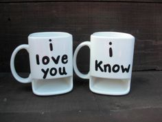 I Love You / I Know - His and Hers Ceramic Cookies and Milk Dunk Mug Set - Star Wars Inspired - Princess Leia to Han Solo. $47.00, via Etsy.