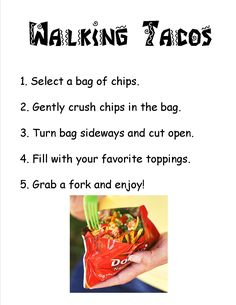 Directions for a walking taco bar.  Print this out and place in a frame.