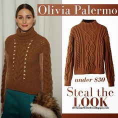 Olivia Palermo in brown cable knit sweater #oliviapalermo #fashion #style #fall2015 #cableknit #sweater #brown #outfitforless