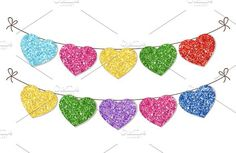 Glitter hearts bunting. Wedding Card Templates