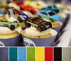 Cupcake with racecar on top. Great for a take home party favour!