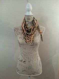 Olive and cream scarf by Taryn Muller