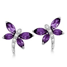 14k Gold .64ct Diamond and Amethyst Dragonfly Earrings
