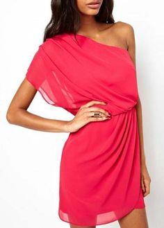 Stacked Rose Elastic Waist Chiffon One Shoulder Dress