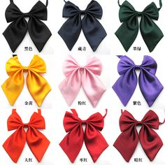 Wholesale Pure Solid Color Girls School Uniform Cravat Professional Women Accessories Bow Tie Butterfly Knot