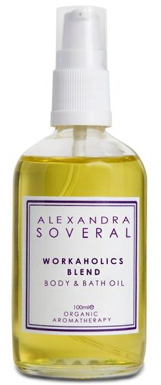 """W O R K A H O L I C S   B L E N D. £43. """"As an instant pick-me-up, this is about the best thing in the market"""" THE TIMES. The aromatherapy properties of the synergetic blend of essential oils is a complete tonic for body and mind: Neroli is a great tonic for the circulation and may relieve stress-related conditions such as anxiety, whilst Lemon lifts the spirits, Lavender balances emotions and Geranium deals with negative feelings."""