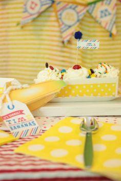 Banana split ice cream birthday party