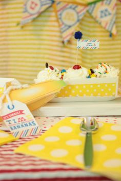 Banana split ice cream birthday party