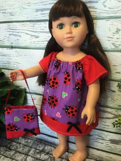 """18"""" Doll Dress and Purse, Purple and Red Ladybug Doll Dress, 18"""" Girl Doll Clothes, Handmade 18"""" Doll Dress, Doll Clothing - pinned by pin4etsy.com"""