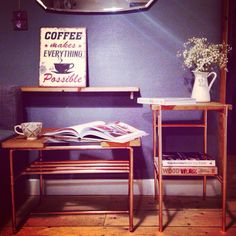 Our beautiful classic coffee tale and her long legged sister the very pretty and practical side table!   Designed and loving hand made by new London based bespoke furniture company Copper & Wood  Full range coming soon! Please visit www.copperandwood.co.uk to sign up and join our journey.   C&W x