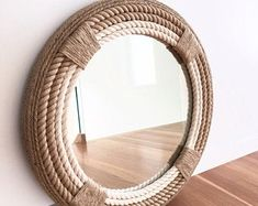 Round Mirror With Rope, Rope Mirror, Nautical Mirror, Nautical Home, Small Toilet Room, Handmade Frames, Easy Home Decor, Diy Home Improvement, Hanging Wall Art
