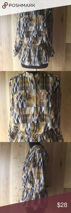MICHAEL KORS LONG SLEEVE BLOUSE MICHAEL KORS long sleeve top/blouse. Size S. Has two chest pockets, 4 buttons in middle, elastic with drawstring on waist.  Brown/mustard/cream colors.  SUPER CUTE!!!! Pre owned, good condition, pet/smoke free home MICHAEL Michael Kors Tops Blouses