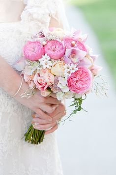 Peach Pink and Lavender Bouquet With Pearls | photography by http://www.ashleybartoletti.com/