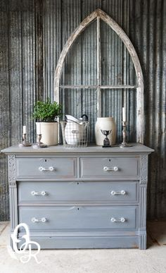 MMS Milk Paint #Trophy dresser by Oliver Rust But can we talk about the window behind it cause that's aces. #mmsmilkpaint www.missmustardseedsmilkpaint.com
