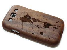 wooden Samsung Galaxy S3  case - wooden S3 case walnut / cherry or bamboo -  Paint splash