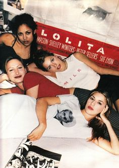 Sofia Coppola, Zoe Cassavetes, Lisa Ann and Amanda de Cadenet wearing Milkfed clothes photographed by Paul Jasmine for W (December 1994).